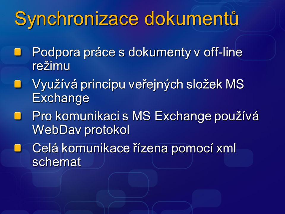Synchronizace dokumentů Podpora práce s dokumenty v off-line režimu Využívá principu veřejných složek MS Exchange Pro komunikaci s MS Exchange používá WebDav protokol Celá komunikace řízena pomocí xml schemat