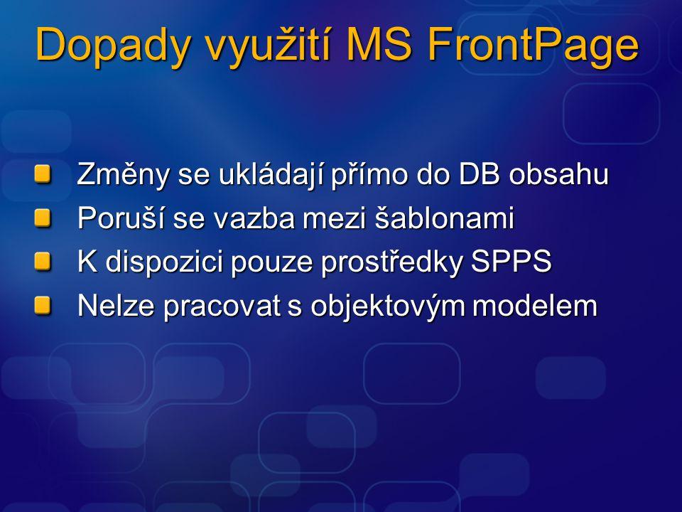 Dopady využití MS FrontPage Změny se ukládají přímo do DB obsahu Poruší se vazba mezi šablonami K dispozici pouze prostředky SPPS Nelze pracovat s objektovým modelem