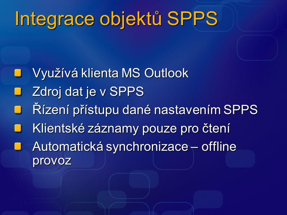 Integrace objektů SPPS Využívá klienta MS Outlook Zdroj dat je v SPPS Řízení přístupu dané nastavením SPPS Klientské záznamy pouze pro čtení Automatická synchronizace – offline provoz