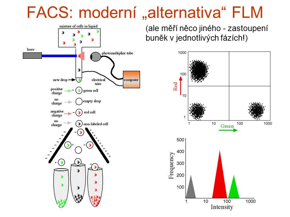 """FACS: modern í """" alternativa """" FLM (ale měří něco jiného - zastoupení buněk v jednotlivých fázích!)"""