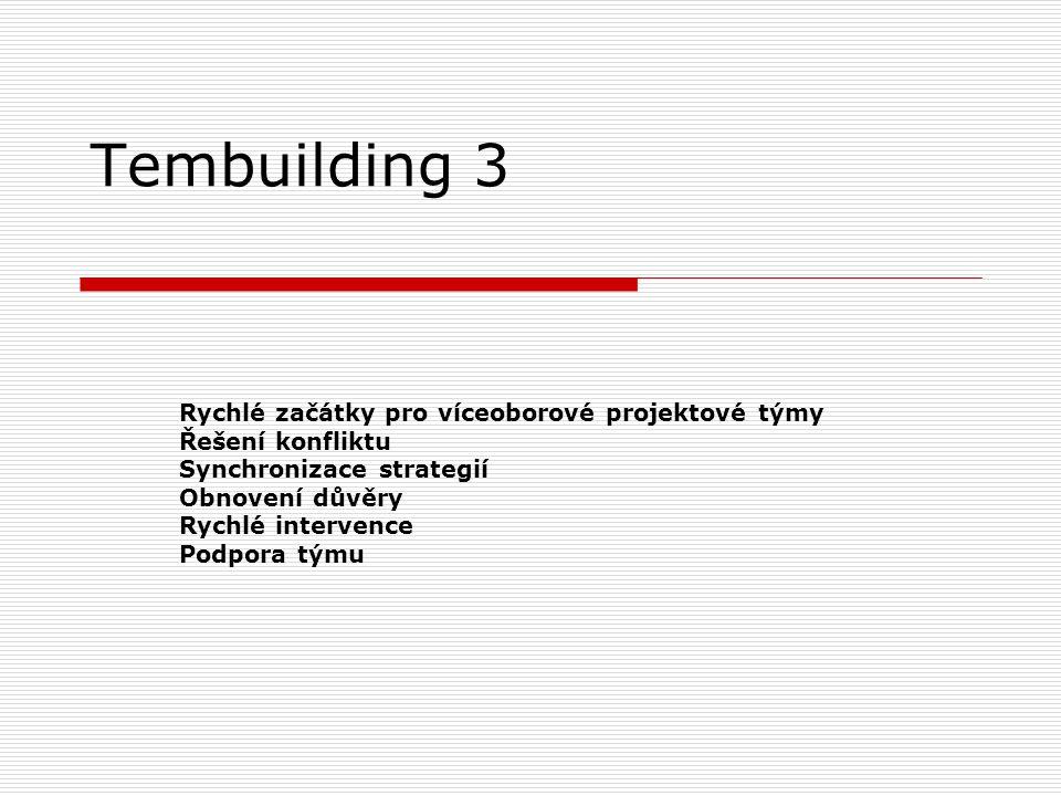Tembuilding 3 Rychlé začátky pro víceoborové projektové týmy Řešení konfliktu Synchronizace strategií Obnovení důvěry Rychlé intervence Podpora týmu