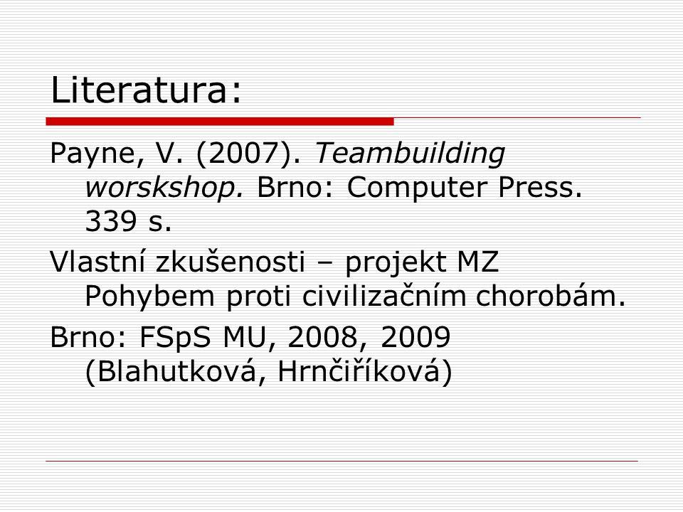 Literatura: Payne, V. (2007). Teambuilding worskshop. Brno: Computer Press. 339 s. Vlastní zkušenosti – projekt MZ Pohybem proti civilizačním chorobám