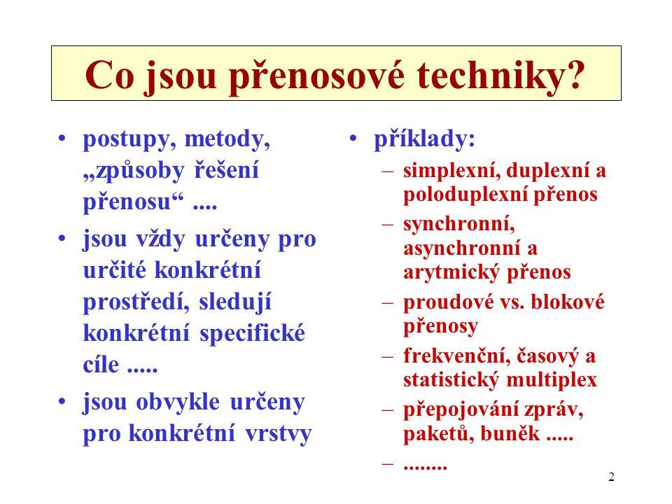 """2 Co jsou přenosové techniky? postupy, metody, """"způsoby řešení přenosu"""".... jsou vždy určeny pro určité konkrétní prostředí, sledují konkrétní specifi"""