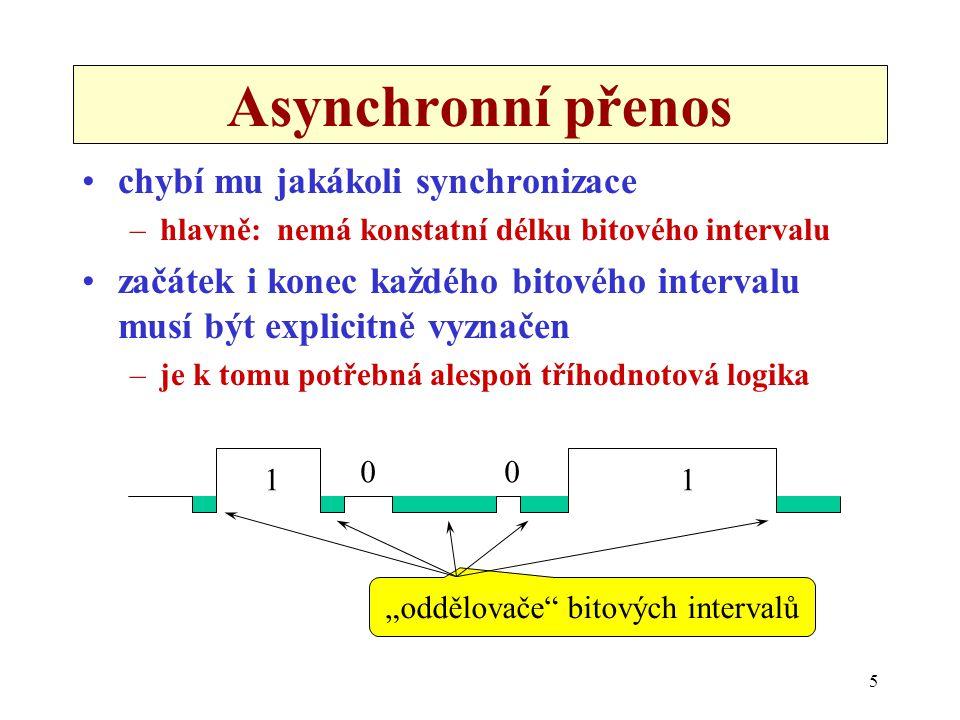 """6 Arytmický přenos znakově orientovaný přenos –snaží se přenášet stejně velké skupiny bitů, představující jednotlivé znaky chybí mu """"rytmus –časové prodlevy mezi jednotlivými znaky mohou být libovolné jeden znak odstupy mezi znaky mohou být libovolné"""