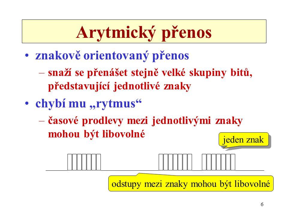 """6 Arytmický přenos znakově orientovaný přenos –snaží se přenášet stejně velké skupiny bitů, představující jednotlivé znaky chybí mu """"rytmus"""" –časové p"""