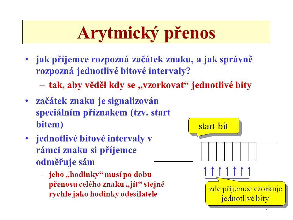 """7 Arytmický přenos jak příjemce rozpozná začátek znaku, a jak správně rozpozná jednotlivé bitové intervaly? –tak, aby věděl kdy se """"vzorkovat"""" jednotl"""