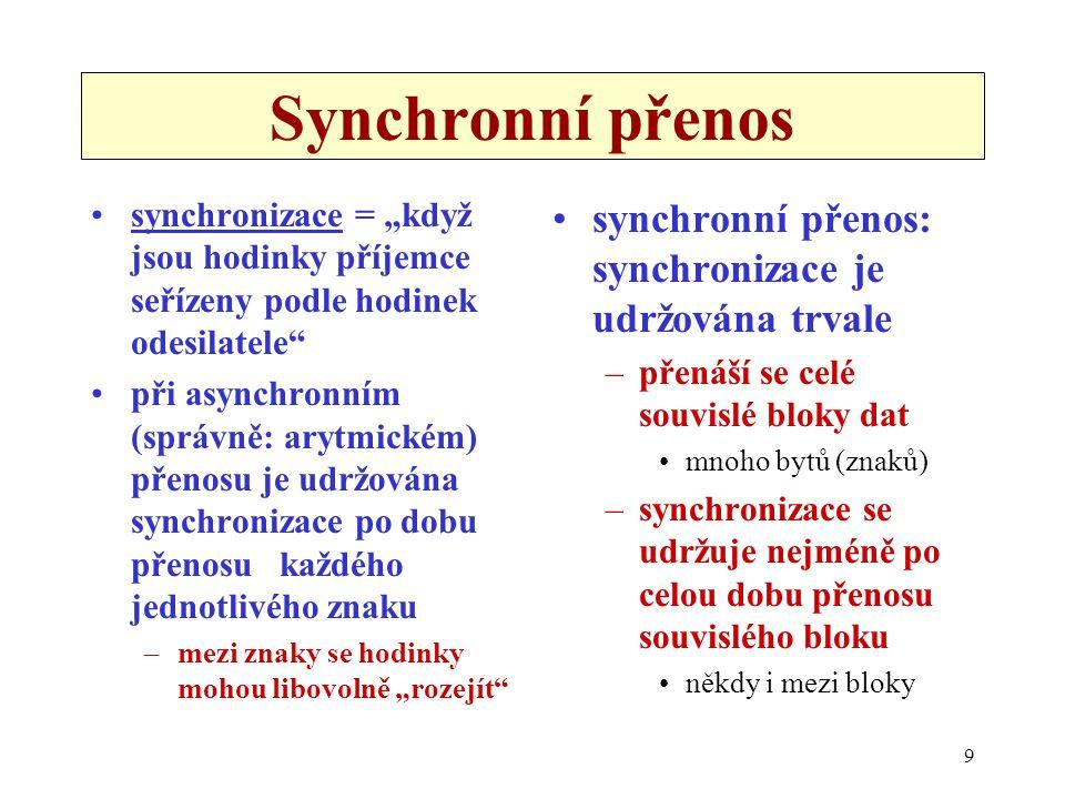 """9 Synchronní přenos synchronizace = """"když jsou hodinky příjemce seřízeny podle hodinek odesilatele"""" při asynchronním (správně: arytmickém) přenosu je"""