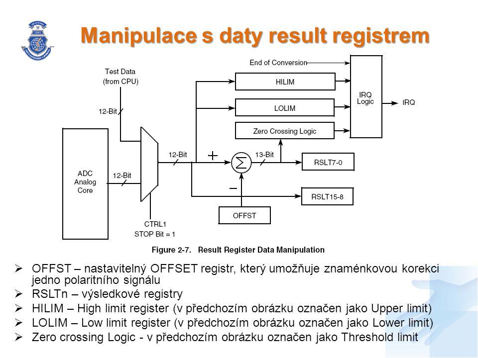 Manipulace s daty result registrem  OFFST – nastavitelný OFFSET registr, který umožňuje znaménkovou korekci jedno polaritního signálu  RSLTn – výsledkové registry  HILIM – High limit register (v předchozím obrázku označen jako Upper limit)  LOLIM – Low limit register (v předchozím obrázku označen jako Lower limit)  Zero crossing Logic - v předchozím obrázku označen jako Threshold limit