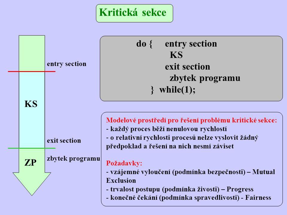 Kritická sekce Modelové prostředí pro řešení problému kritické sekce: - každý proces běží nenulovou rychlostí - o relativní rychlosti procesů nelze vyslovit žádný předpoklad a řešení na nich nesmí záviset Požadavky: - vzájemné vyloučení (podmínka bezpečnosti) – Mutual Exclusion - trvalost postupu (podmínka živosti) – Progress - konečné čekání (podmínka spravedlivosti) - Fairness do {entry section KS exit section zbytek programu } while(1); entry section exit section zbytek programu ZP KS