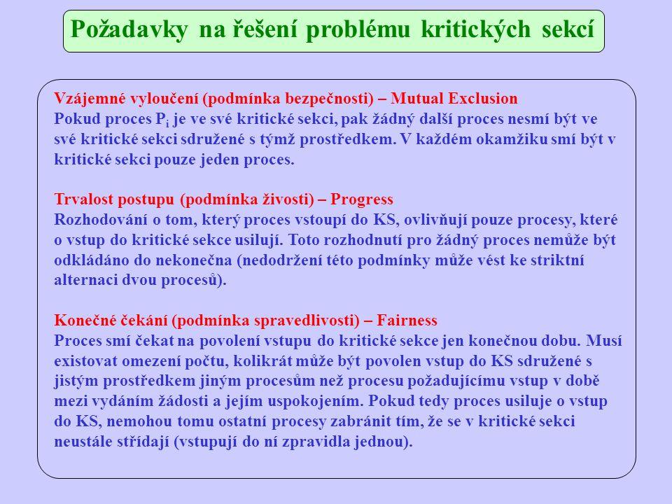 Požadavky na řešení problému kritických sekcí Vzájemné vyloučení (podmínka bezpečnosti) – Mutual Exclusion Pokud proces P i je ve své kritické sekci, pak žádný další proces nesmí být ve své kritické sekci sdružené s týmž prostředkem.