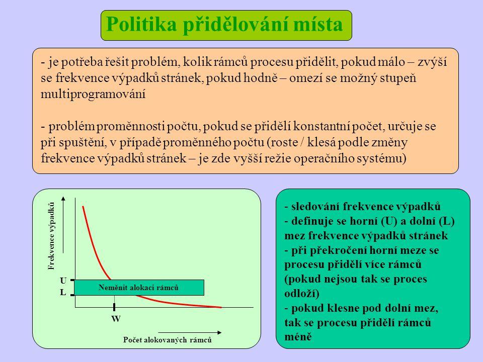 Politika přidělování místa Frekvence výpadků Počet alokovaných rámců U W Neměnit alokaci rámců L - je potřeba řešit problém, kolik rámců procesu přidělit, pokud málo – zvýší se frekvence výpadků stránek, pokud hodně – omezí se možný stupeň multiprogramování - problém proměnnosti počtu, pokud se přidělí konstantní počet, určuje se při spuštění, v případě proměnného počtu (roste / klesá podle změny frekvence výpadků stránek – je zde vyšší režie operačního systému) - sledování frekvence výpadků - definuje se horní (U) a dolní (L) mez frekvence výpadků stránek - při překročení horní meze se procesu přidělí více rámců (pokud nejsou tak se proces odloží) - pokud klesne pod dolní mez, tak se procesu přidělí rámců méně