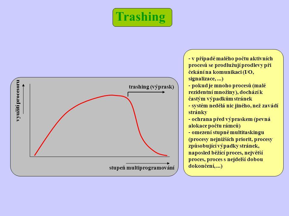 Trashing stupeň multiprogramování využití procesoru trashing (výprask) - v případě malého počtu aktivních procesů se prodlužují prodlevy při čekání na komunikaci (I/O, signalizace,...) - pokud je mnoho procesů (malé rezidentní množiny), dochází k častým výpadkům stránek - systém nedělá nic jiného, než zavádí stránky - ochrana před výpraskem (pevná alokace počtu rámců) - omezení stupně multitaskingu (procesy nejnižších priorit, procesy způsobující výpadky stránek, naposled běžící proces, největší proces, proces s nejdelší dobou dokončení,...)