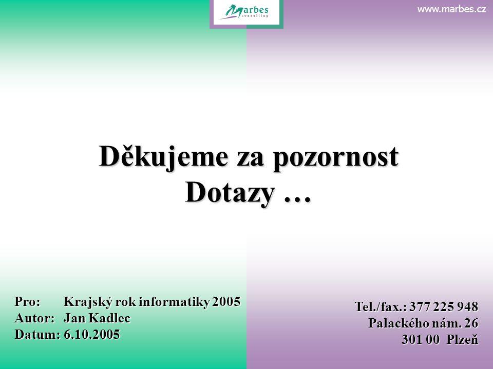 www.marbes.czEvidence organizační struktury Děkujeme za pozornost Dotazy … Pro:Krajský rok informatiky 2005 Autor:Jan Kadlec Datum:6.10.2005 Tel./fax.: 377 225 948 Palackého nám.