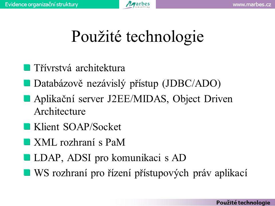www.marbes.czEvidence organizační struktury Použité technologie Třívrstvá architektura Databázově nezávislý přístup (JDBC/ADO) Aplikační server J2EE/MIDAS, Object Driven Architecture Klient SOAP/Socket XML rozhraní s PaM LDAP, ADSI pro komunikaci s AD WS rozhraní pro řízení přístupových práv aplikací Použité technologie