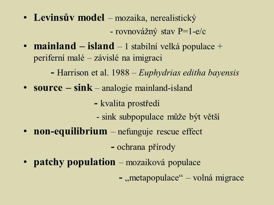 Levinsův model – mozaika, nerealistický - rovnovážný stav P=1-e/c mainland – island – 1 stabilní velká populace + periferní malé – závislé na imigraci - Harrison et al.
