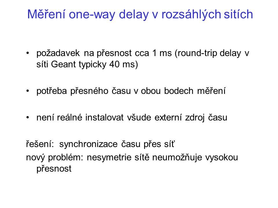 Měření one-way delay v rozsáhlých sitích požadavek na přesnost cca 1 ms (round-trip delay v síti Geant typicky 40 ms) potřeba přesného času v obou bod
