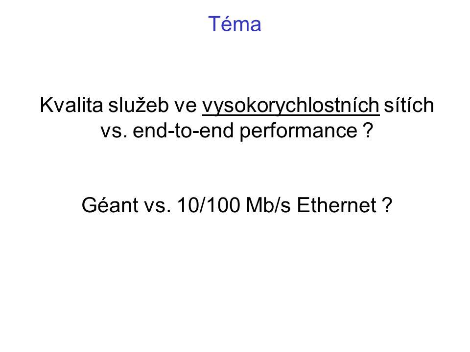 Kvalita služeb ve vysokorychlostních sítích vs. end-to-end performance ? Géant vs. 10/100 Mb/s Ethernet ? Téma