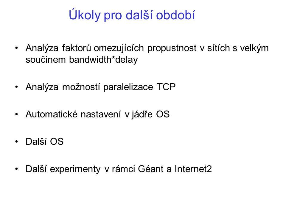 Úkoly pro další období Analýza faktorů omezujících propustnost v sítích s velkým součinem bandwidth*delay Analýza možností paralelizace TCP Automatické nastavení v jádře OS Další OS Další experimenty v rámci Géant a Internet2