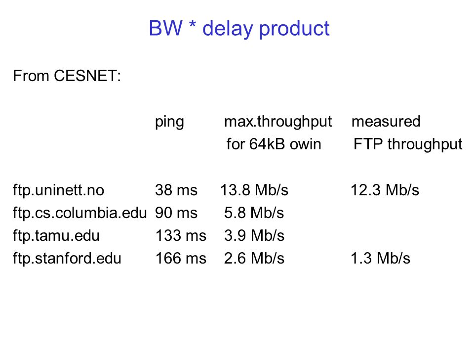 BW * delay product From CESNET: ping max.throughput measured for 64kB owin FTP throughput ftp.uninett.no38 ms 13.8 Mb/s 12.3 Mb/s ftp.cs.columbia.edu90 ms 5.8 Mb/s ftp.tamu.edu133 ms 3.9 Mb/s ftp.stanford.edu166 ms 2.6 Mb/s 1.3 Mb/s