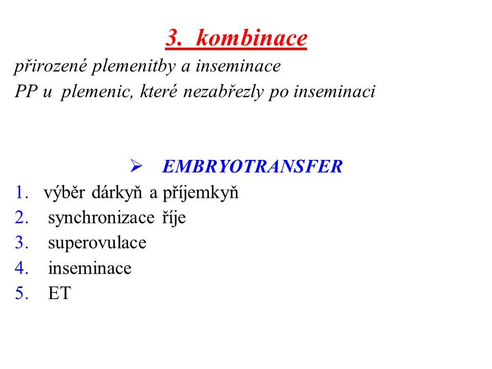3. kombinace přirozené plemenitby a inseminace PP u plemenic, které nezabřezly po inseminaci  EMBRYOTRANSFER 1.výběr dárkyň a příjemkyň 2. synchroniz