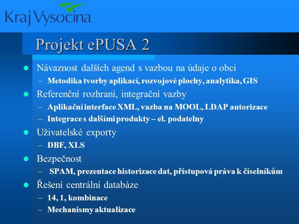 Projekt ePUSA 2 Integrace s EOS, UIR-ADR –Synchronizace, AD, editace číselníků funkcí EOS, replikace UIR vs.