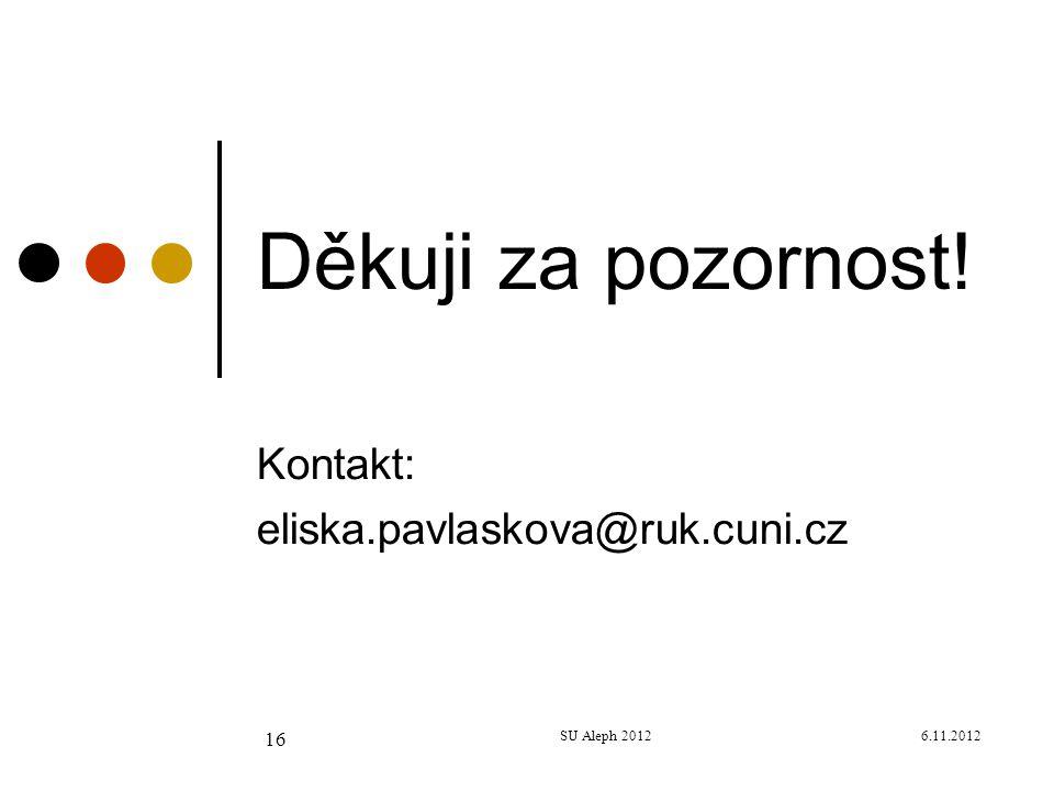 6.11.2012SU Aleph 2012 16 Děkuji za pozornost! Kontakt: eliska.pavlaskova@ruk.cuni.cz