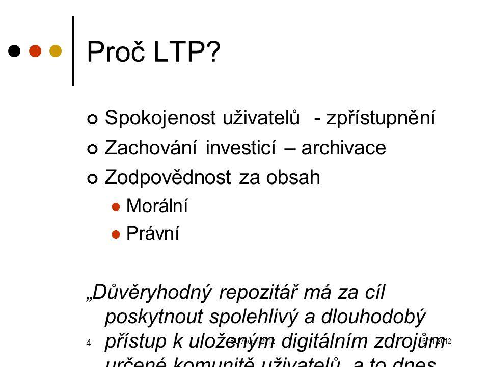 """6.11.2012SU Aleph 2012 4 Proč LTP? Spokojenost uživatelů - zpřístupnění Zachování investicí – archivace Zodpovědnost za obsah Morální Právní """"Důvěryho"""