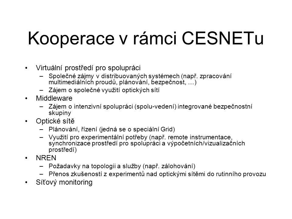 Kooperace v rámci CESNETu Virtuální prostředí pro spolupráci –Společné zájmy v distribuovaných systémech (např.