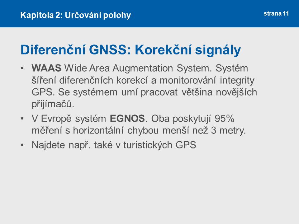 strana 11 Diferenční GNSS: Korekční signály WAAS Wide Area Augmentation System. Systém šíření diferenčních korekcí a monitorování integrity GPS. Se sy