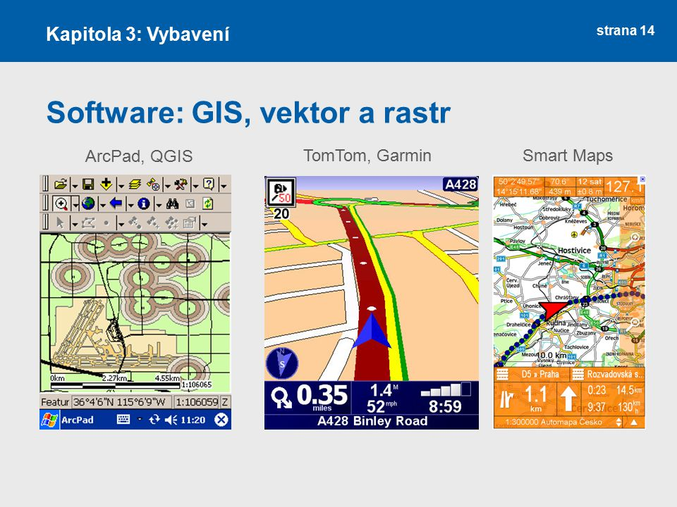 strana 14 Software: GIS, vektor a rastr Kapitola 3: Vybavení ArcPad, QGIS TomTom, GarminSmart Maps