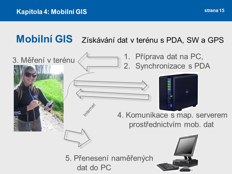 strana 15 Mobilní GIS Kapitola 4: Mobilní GIS Získávání dat v terénu s PDA, SW a GPS 1.Příprava dat na PC, 2.Synchronizace s PDA 3. Měření v terénu 4.