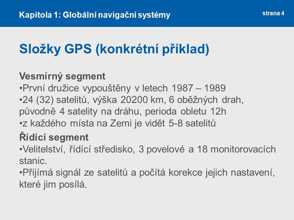 strana 4 Složky GPS (konkrétní příklad) Vesmírný segment První družice vypouštěny v letech 1987 – 1989 24 (32) satelitů, výška 20200 km, 6 oběžných dr