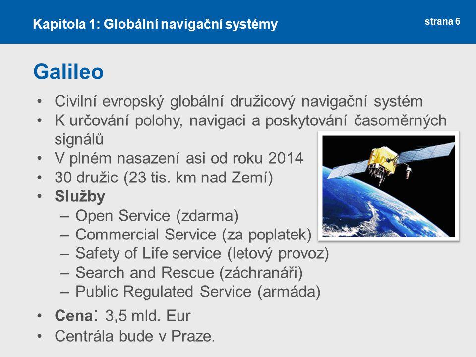 strana 6 Galileo Civilní evropský globální družicový navigační systém K určování polohy, navigaci a poskytování časoměrných signálů V plném nasazení a