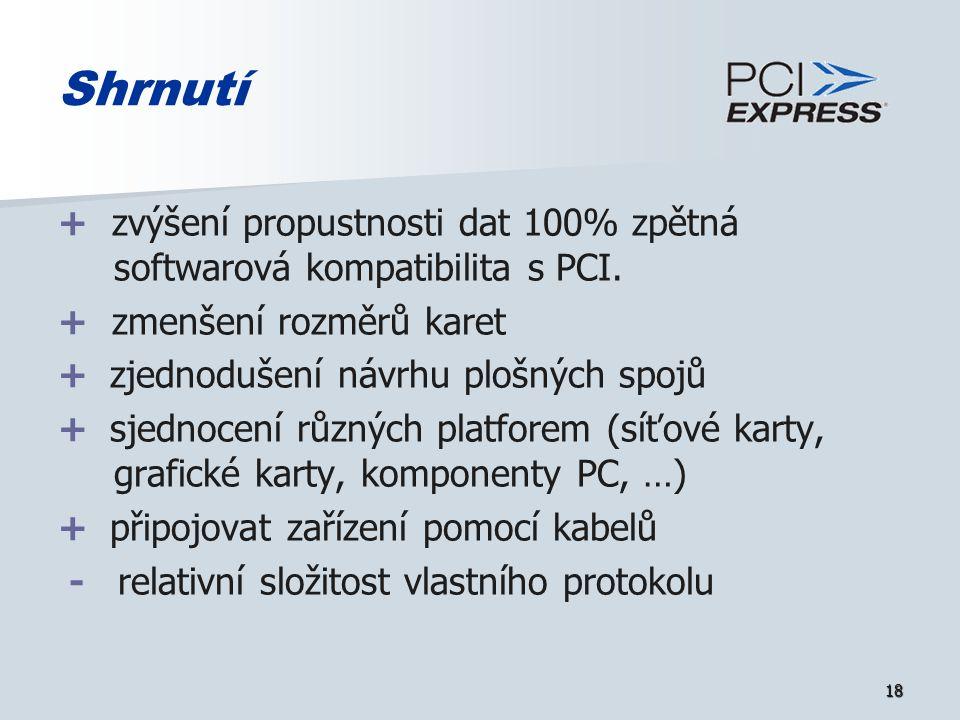 18 Shrnutí + zvýšení propustnosti dat 100% zpětná softwarová kompatibilita s PCI.