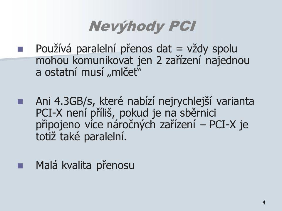 """4 Nevýhody PCI Používá paralelní přenos dat = vždy spolu mohou komunikovat jen 2 zařízení najednou a ostatní musí """"mlčet Ani 4.3GB/s, které nabízí nejrychlejší varianta PCI-X není příliš, pokud je na sběrnici připojeno více náročných zařízení – PCI-X je totiž také paralelní."""