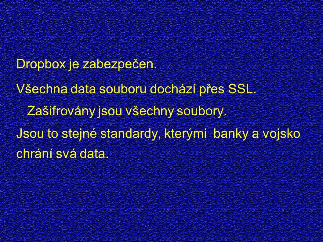 Dropbox je zabezpečen. Všechna data souboru dochází přes SSL.