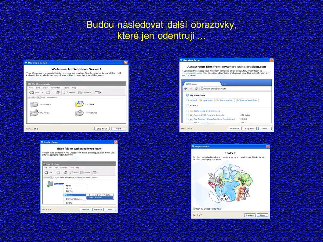Po ukončení instalace se otevře složka Dropbox Po chvíli synchronizace jsou ve složce soubory z Internetu.