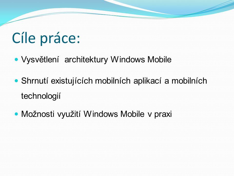 Cíle práce: Vysvětlení architektury Windows Mobile Shrnutí existujících mobilních aplikací a mobilních technologií Možnosti využití Windows Mobile v p