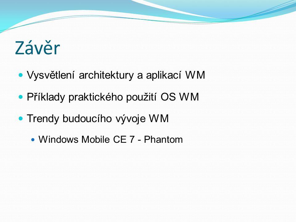 Závěr Vysvětlení architektury a aplikací WM Příklady praktického použití OS WM Trendy budoucího vývoje WM Windows Mobile CE 7 - Phantom