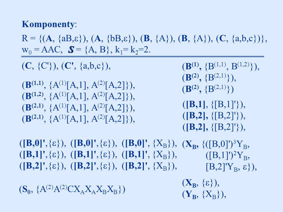 Komponenty: R = {(A, {aB,  }), (A, {bB,  }), (B, {A}), (B, {A}), (C, {a,b,c})}, S w 0 = AAC, S = {A, B}, k 1 = k 2 =2.