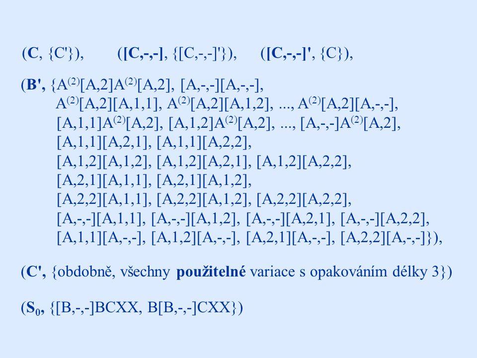 další komponenty (B , {A (2) [A,2]A (2) [A,2], [A,-,-][A,-,-], A (2) [A,2][A,1,1], A (2) [A,2][A,1,2],..., A (2) [A,2][A,-,-], [A,1,1]A (2) [A,2], [A,1,2]A (2) [A,2],..., [A,-,-]A (2) [A,2], [A,1,1][A,2,1], [A,1,1][A,2,2], [A,1,2][A,1,2], [A,1,2][A,2,1], [A,1,2][A,2,2], [A,2,1][A,1,1], [A,2,1][A,1,2], [A,2,2][A,1,1], [A,2,2][A,1,2], [A,2,2][A,2,2], [A,-,-][A,1,1], [A,-,-][A,1,2], [A,-,-][A,2,1], [A,-,-][A,2,2], [A,1,1][A,-,-], [A,1,2][A,-,-], [A,2,1][A,-,-], [A,2,2][A,-,-]}), (B, {B }),([B,-,-], {[B,-,-] }),([B,-,-] , {B}), (S 0, {[B,-,-]BCXX, B[B,-,-]CXX}) (C, {C }),([C,-,-], {[C,-,-] }),([C,-,-] , {C}), (C , {obdobně, všechny použitelné variace s opakováním délky 3})