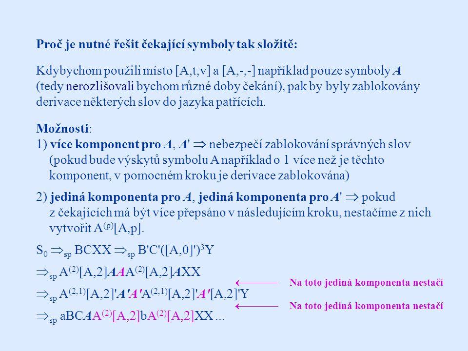 Proč je nutné řešit čekající symboly tak složitě: Kdybychom použili místo [A,t,v] a [A,-,-] například pouze symboly A (tedy nerozlišovali bychom různé doby čekání), pak by byly zablokovány derivace některých slov do jazyka patřících.