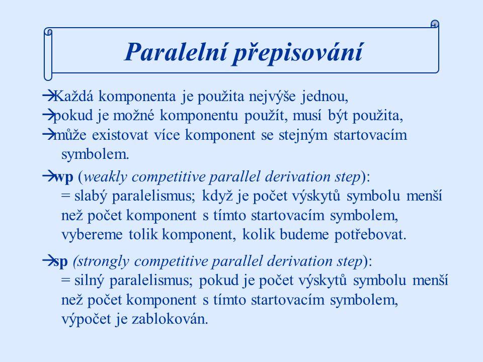 R = { (M, {PPPN, PPNP, PNPP, NPPP,  }), (N, {M}), (P, {a}), (P, {b}) } w 0 = MM MM  wp PPNPM  wp PaMb  wp bab MM  sp PPNPM  sp PaMb  sp BLOKOVÁNO MM  sp PPNPM  sp PaMbPNPP  sp babPMaP  sp  sp babaab L 1wp = {w  {a,b}*; |w|=3n, n  0, | |w| a -|w| b |  1} L 1sp = {w  {a,b}*; |w|=6n, n  0, |w| a = |w| b } Příklad: