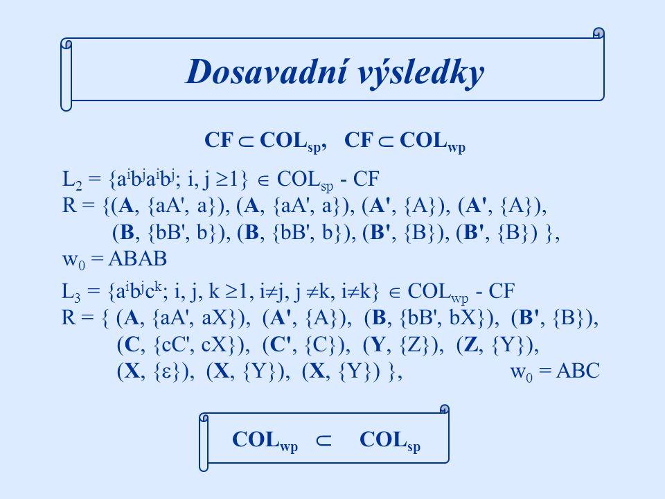 Demonstrační příklady Krok 1 algoritmu popíšeme na této kolonii: C 4wp = ({A, B, C, a, b, c}, {a, b, c}, R), w 0 = AAC, R = { (A, {aB,  }), (A, {bB,  }), (B, {A}), (B, {A}), (C, {a,b,c}) } Demonstrační příklady L 4 = {w  {a,b}*; w =   nebo w =  , kde  je inverzí  (záměna symbolů a, b)}  ° {a,b,c} Kroky 2 a 3 ukážeme na kolonii C 5wp = ({A, B, C, a, b}, {a, b}, R), w 0 = BBC, R = { (A, {a, aBC, BCa}), (A, {b}), (B, {AA}), (C, {AAA}) } L 5 = {w  {a,b}*; |w| = 5n+2, n  1, | |w| a -|w| b |  1}