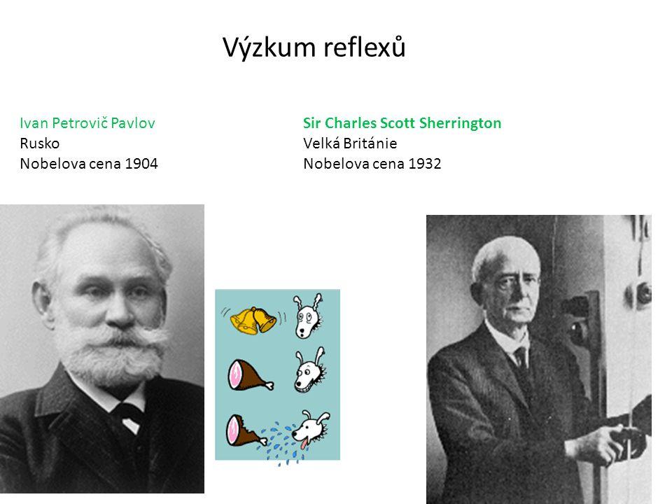 Výzkum reflexů Ivan Petrovič Pavlov Rusko Nobelova cena 1904 Sir Charles Scott Sherrington Velká Británie Nobelova cena 1932