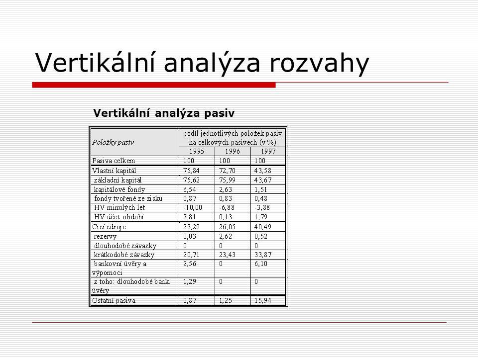 Horizontální analýza výkazu zisků a ztrát