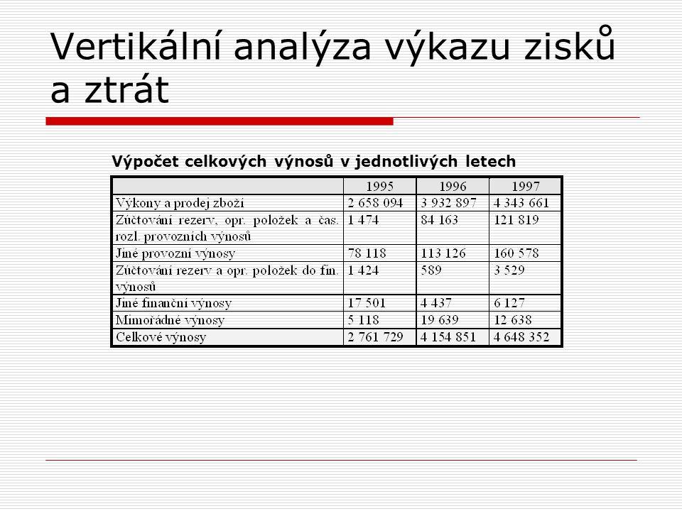 Vertikální analýza výkazu zisků a ztrát