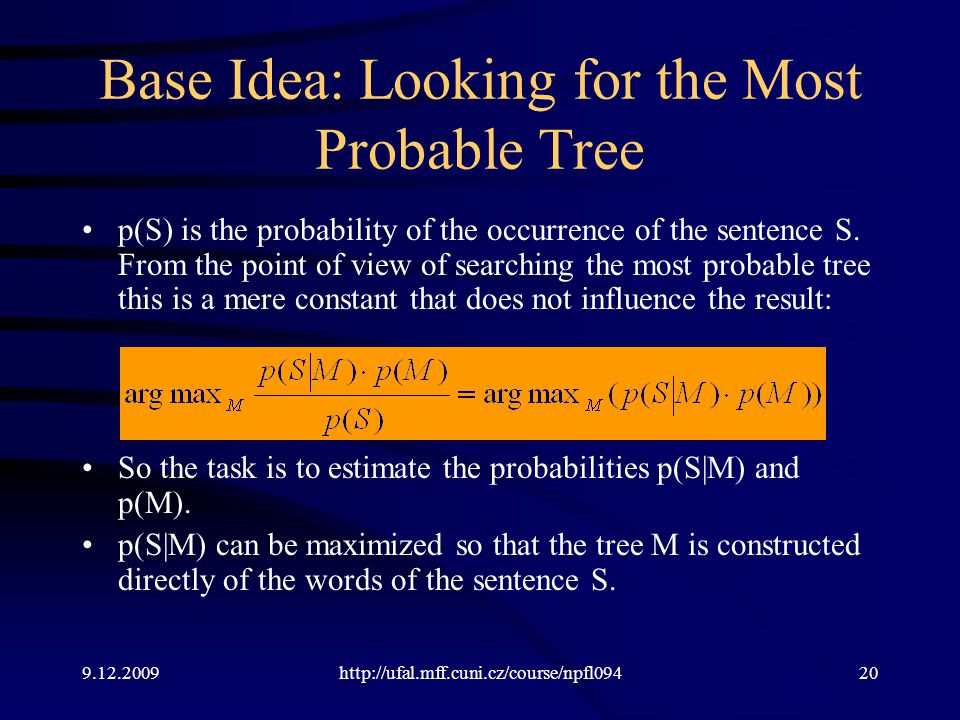 9.12.2009http://ufal.mff.cuni.cz/course/npfl09420 Base Idea: Looking for the Most Probable Tree p(S) is the probability of the occurrence of the sentence S.