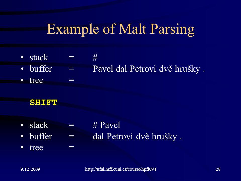 9.12.2009http://ufal.mff.cuni.cz/course/npfl09428 Example of Malt Parsing stack=# buffer=Pavel dal Petrovi dvě hrušky.