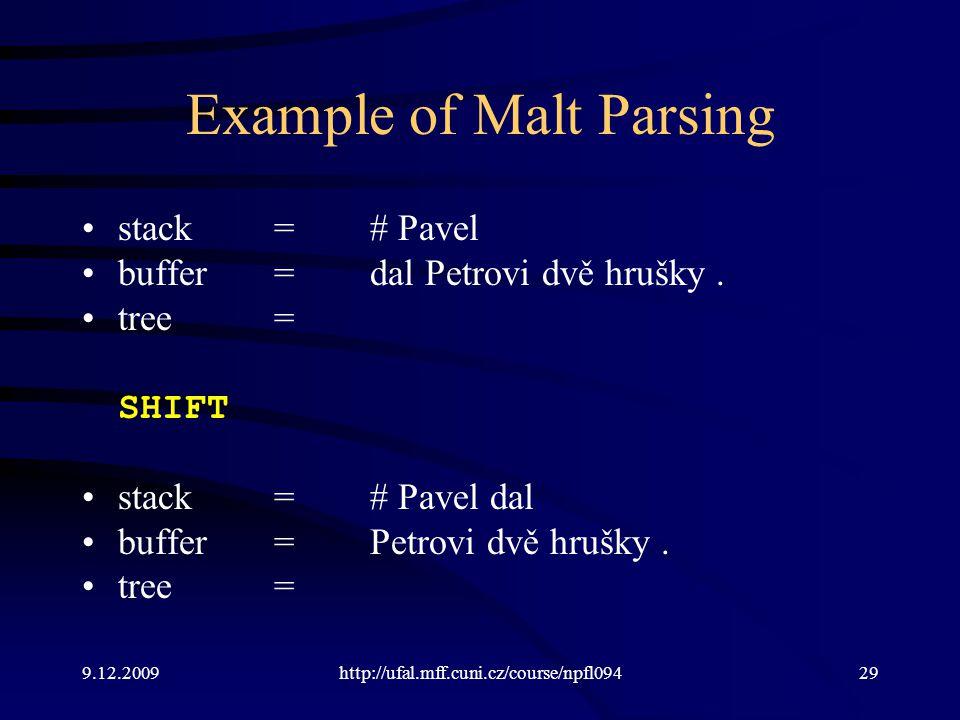 9.12.2009http://ufal.mff.cuni.cz/course/npfl09429 Example of Malt Parsing stack=# Pavel buffer=dal Petrovi dvě hrušky.